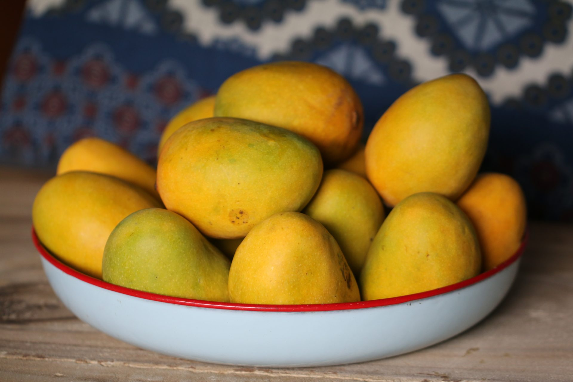 Bowl of Mangoes on Wood Counter