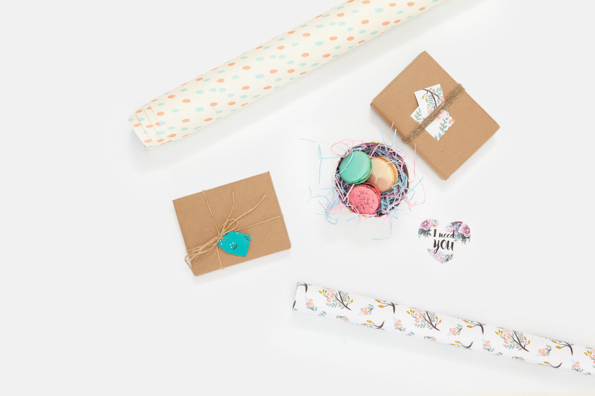 Macaroons and gift wrap