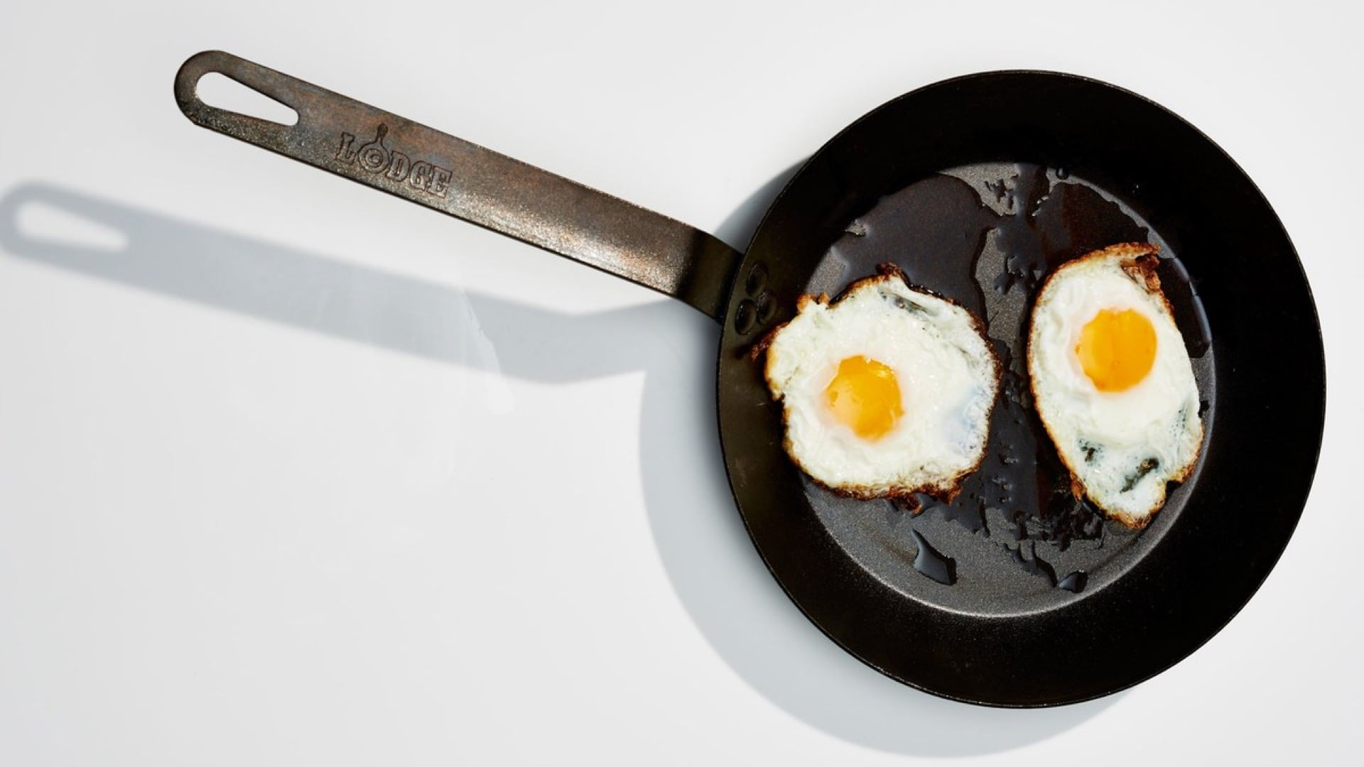 fried eggs in a skillet - happy egg company