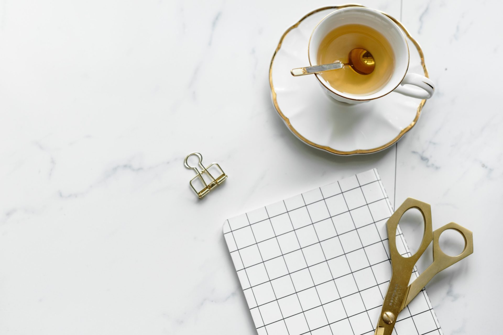 Crafting and Tea Gold and White
